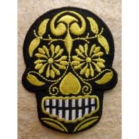 Ecusson tête de mort noir/jaune