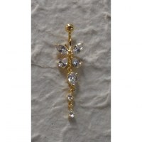 Piercing nombril papillon 2 plaqué or & strass pendant
