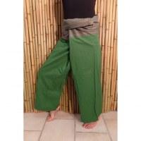 Pantalon thaï Pattaya uni vert