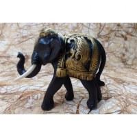 Eléphant Baan Chang noir et or