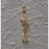 Piercing nombril fleurs 5 pétales plaqué or & strass 1 perle 3 pendants