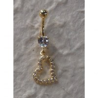 Piercing nombril coeur 2 plaqué or & strass