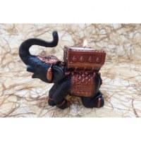 Bougeoir éléphant noir/cuivré à genoux