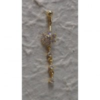 Piercing nombril floralia plaqué or & strass