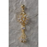 Piercing nombril papillon plaqué or & strass 3 pendants