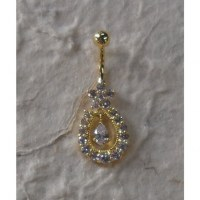Piercing nombril couronne plaqué or & strass
