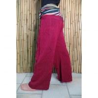 Pantalon thaï bordeaux revers rayong