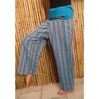 Pantalon Thaï bleu à rayures