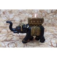 Bougeoir éléphant noir/or