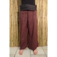 Pantalon Thaï foncé fines rayures colorées