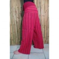Pantalon Thaï rouge à rayures