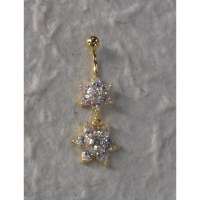 Piercing nombril 2 stars plaqué or & strass