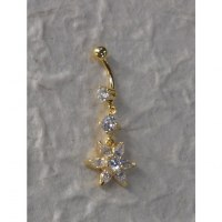 Piercing nombril edelweiss 2 plaqué or & strass