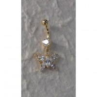 Piercing nombril perle et papillon plaqué or & strass