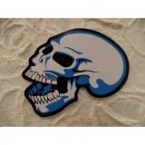 Petit autocollant bleu tête de mort rieuse