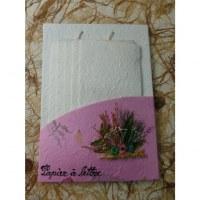 Set courrier rose fleurs séchées