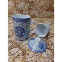 Tisanière florale grise et bleue