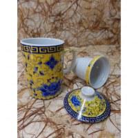 Tisanière jaune lotus bleu
