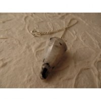 Pendule conique pierre de lune blanche péristérite