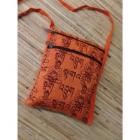 Sac passeport orange sanscrit Bouddha