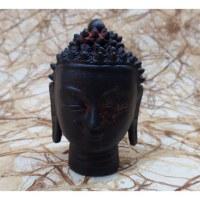 Tête Bouddha terre cuite noire/rouge