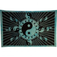 Tenture full yin yang bleu et noir