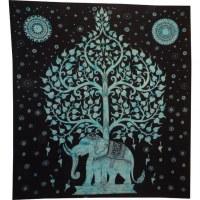 Tenture maxi arbre de vie et éléphant noir et bleu