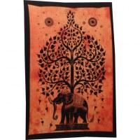 Mini tenture orange arbre de vie et éléphant